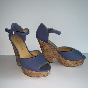 Lauren Conrad Blue Wedge Heels Size 9.5